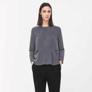 COS 100% Silk Pleated Long Sleeve Shirt Top